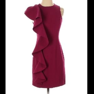 Cinq a Sept Red Ruffle Sleevless Dress